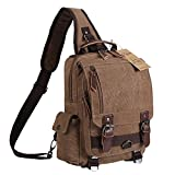 Ulgoo Canvas Messenger Bag Single Shoulder Backpack Durable Strap Travel Rucksack (Coffee)