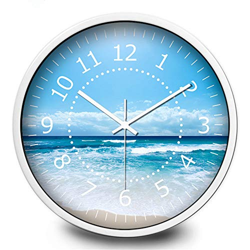 Qioop Wall Clock Blue Sky Living Room Silent Quartz Wall Clock 12 inches