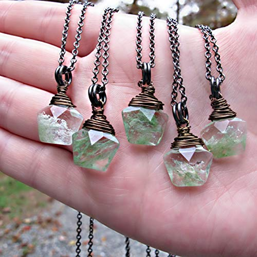 Crystal Necklace, Moss Agate Necklace - Natural Stone Necklace - Moss Agate Pendant - Boho Stone Jewelry - Healing Stone Pendant - Green moss Agate Jewelry, 18 inch chain