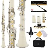 Mendini White ABS B Flat Clarinet with 2 Barrels, Case, Stand, Pocketbook, Mouthpiece, 10 Reeds and More, MCT-2W+SD+PB