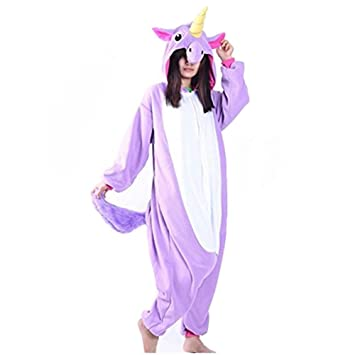 Colorfulworld Flanela unicornio pijamas Cartoon Animal Novedad Navidad Pijama Cosplay pijamas (M, púrpura)