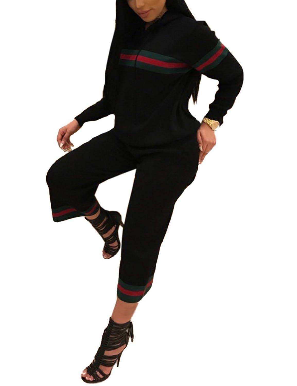 Subtle Flavor Women's 2 Pieces Casual Outfit Set Drawstring Striped Hoodie+Ninth Pants Sweatsuits Tracksuits Jumpsuits