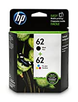 HP 62 Black & Tri-Color Original Ink Cartridges, 2 Cartridges (N9H64FN)