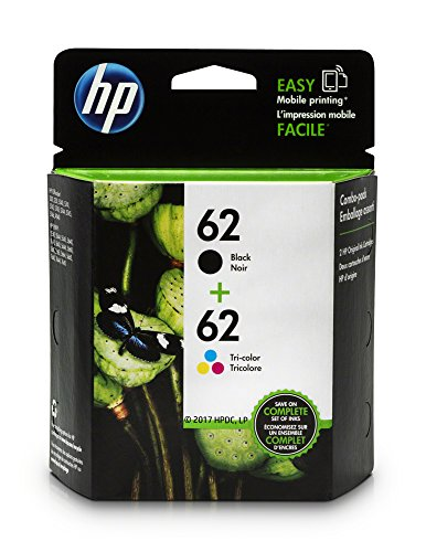 HP 62 Black & Tri-Color Original Ink Cartridges, 2 Cartridges (N9H63FN)