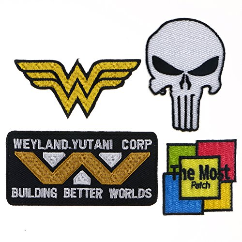 Lot of 6 (5+1) ''WONDER WOMAN'' ''WEYLAND.YUTANI CORP BUILING BETTER WORLOS'' ''PUNISHER'' Jacket T-shirt Embroidered Iron / Sew On Patch