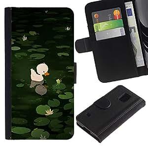 Billetera de Cuero Caso Titular de la tarjeta Carcasa Funda para Samsung Galaxy S5 V SM-G900 / Sweet Cute Pond Drawing Green Animal / STRONG