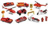 : Rescue Vehicles Emergency Fire Set, 15 Piece Diecast Vehicles Including; Helicopters, Motorcycles, Recovery Vehicles, Road Sign, Fire Truck, Fire Hydrant, Pickup Truck, Barricade And Cone – By Kidsco
