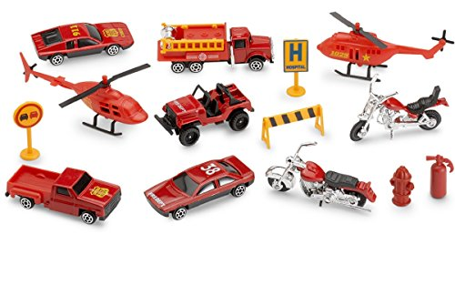 Kidsco Rescue Vehicles Emergency Fire Set, 15 Piece Diecast Vehicles Including; Helicopters, Motorcycles, Recovery Vehicles, Road Sign, Fire Truck, Fire Hydrant, Pickup Truck, Barricade and Cone