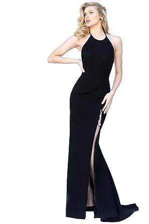 Sherri Hill 50647 High Leg Split Halter Neck Open Back Dress, Black Size US4
