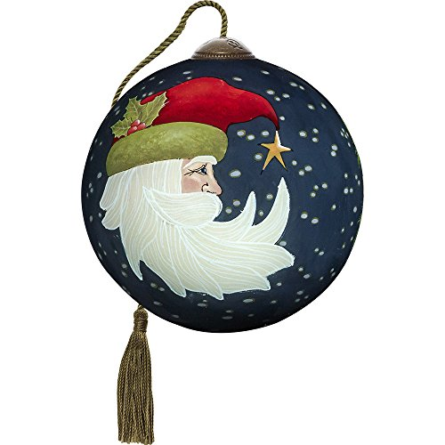 Precious Moments, Ne'Qwa Art 7171115 Hand Painted Blown Glass Petite Round Shaped Joyeux Noel Ornament, 3-inches by Ne'Qwa