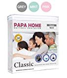 Waterproof Mattress Protector - Papahome Classic Hypoallergenic Mattress Protector - 100% Waterproof - Fitted Polyester Cover - Vinyl Free - 10 Year Warranty (Queen, Grey)