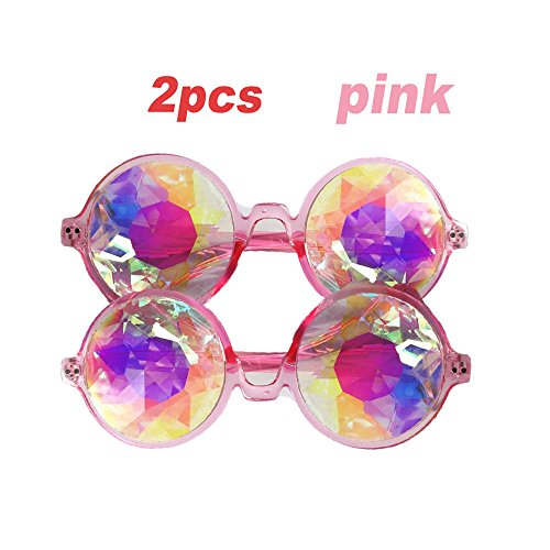 2PCS Crystal Lenses Kaleidoscope Halloween Goggles, Kaleidoscopic Prism Eyeglasses Cosplay Steampunk Goggles & Glasses for Hallowmas Costume, Cosplay Party Props - Eye Related Halloween Costumes