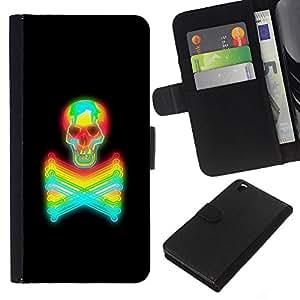 Be-Star la tarjeta de Crédito Slots PU Funda de cuero Monedero caso cubierta de piel HTC DESIRE 816 ( Black Colorful Vibrant Neon Skull Tattoo )