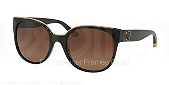 b1037a5e91 Amazon.com  Tory Burch Women s TY9042 Sunglasses Black Brown Gradient  Polarized 56mm   Cleaning Kit Bundle  Clothing