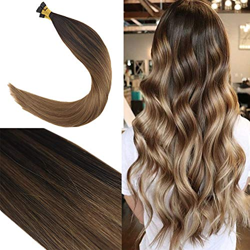 Youngsee 24inch 100% Real Itip Human Hair Extensions Balayage Darkest Brown Fading to Medium Brown with Caramel Blonde Fusion Hair Extensions I Tip Remy Human Hair 50Gram ()