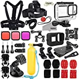 Photo : Kupton Accessories Kit Bundle for GoPro Hero 8 Black, Waterproof Housing + Sleeve Case + Filters + Head Chest Strap + Suction Cup Mount + Bike Mount + Floating Grip Accessory Set for Go Pro Hero8