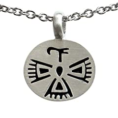 Native American Indian Bird Symbol Mexican Mayan Aztec Inca Pewter Pendant Stainless Steel Chain Necklace