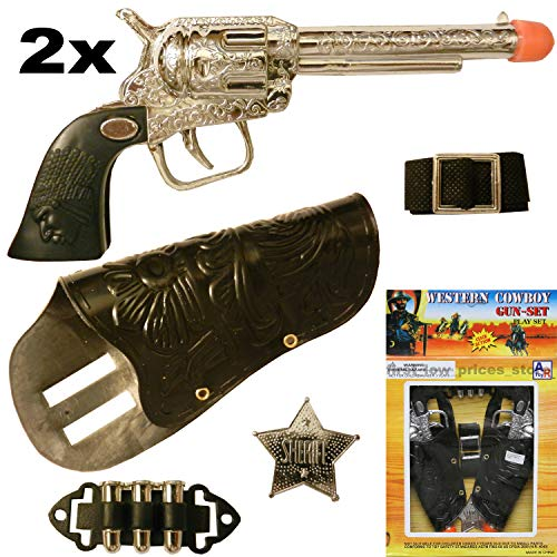 Unbranded 2 (Two) Cowboy Gun Toy Pistol Revolver Wild WEST Play Set Badge Belt Holster Silver from Unbranded
