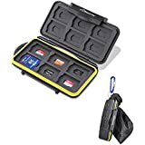 Beeway® Tough Water Shock Resistant Protector Memory Card Carrying Case Holder 24 Slots for SD SDHC SDXC and Micro SD TF with Storage Bag & Carabiner
