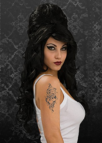 Gothic Black Amy Winehouse Style Wig -