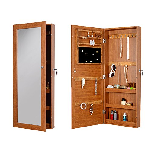 GLS Lockable Mirror Jewelry Armoire Box Wall Door Mount,Oak