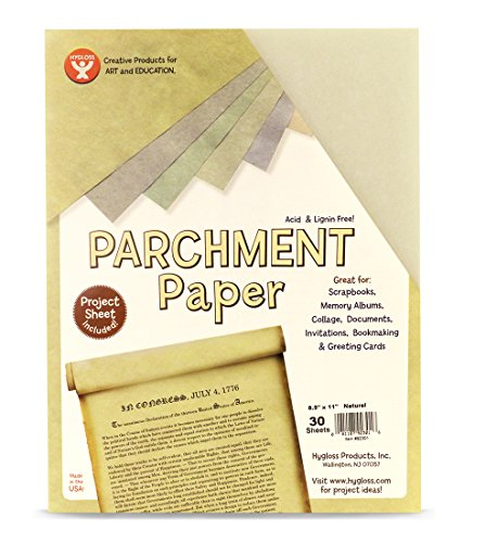 Hygloss Products Craft Parchment Paper Sheets - Printer Friendly, Made in USA - 8-1/2 x 11 Inches, Natural, 30 Pack]()