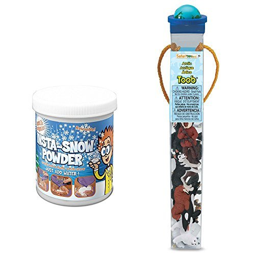 Set Animal Arctic (Safari Arcitc TOOB with 10 Arctic Human & Animal Figurines Bundled with Be Amazing! Toys Grow Snow (Makes 2 Gallons))