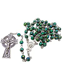 """Green Irish Rosary with Celtic Cross. Material: Acrylic 6 Mm Bead Size: 19"""" L, 1 3/4"""" Crucifix"""