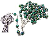 "Green Irish Rosary with Celtic Cross. Material: Acrylic 6 Mm Bead Size: 19"" L, 1 3/4"" Crucifix"