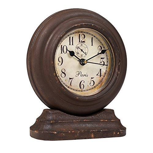 Wood Tabletop Clock (Small French Pedestal Aged Brown 6 x 5 Wooden Table Top Analog Clock)