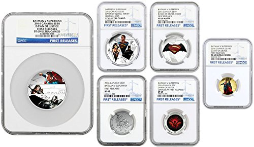 (2016 Batman vs Superman: Dawn of Justice Complete 6-Coin Set - NGC PF69 FIRST RELEASES Varies NGC PF69)