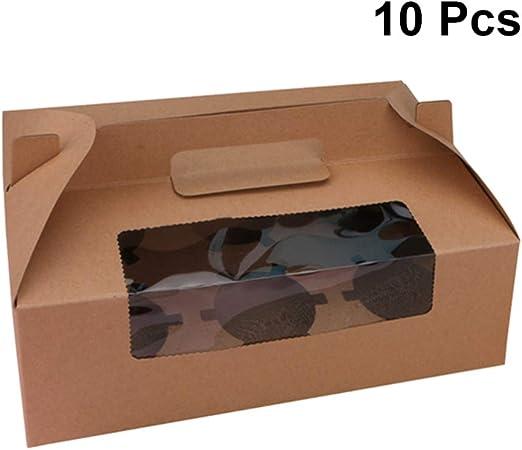UPKOCH - Caja de papel para cupcakes con asa y ventana para 6 pasteles, 10 unidades, color blanco Picture 1: Amazon.es: Hogar