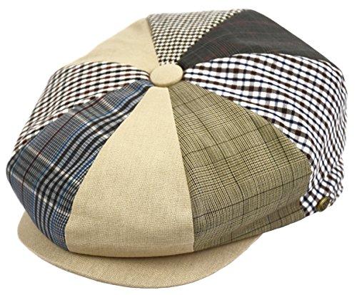 (Deewang Mens Newsboy Cotton Driving Cap, Light Weight Cabbie, Applejack Cap (X-Large, Plaid Patch))