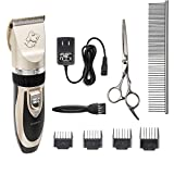 Dog Grooming Clippers - Professional Electric Rechargeable Cordless Dog Trimmer - Grooming Low Noise Pet Trimming Kit Set for Dogs - Cats - Rabbits