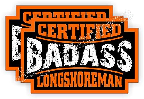 (2) Badass LONGSHOREMAN Hard Hat Stickers | Bad Ass Motor...
