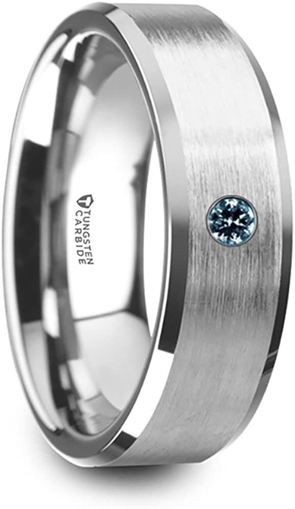 Thorsten Moore Flat Style Matte Brushed Finish Tungsten Carbide Wedding Ring with Polished Beveled Edges Comfort Fit Lightweight Durable Wedding Band Rings 6mm
