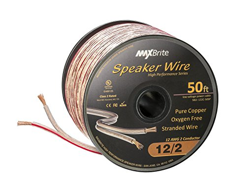 High Performance 12 Gauge Speaker Wire, Oxygen Free Pure Copper - UL Listed Class 2 (50 Feet Spool)