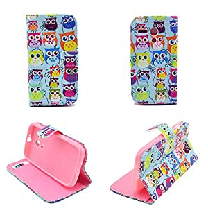 Dokpav® Moto G Case,Ultra Slim Thin PU Leather Case Cover Flip For Moto G With Interior Slip Pockets For Cards-colourful owl