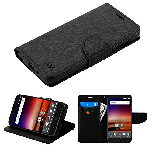 ZTE ZFive C LTE Z558VL Case - Synthetic PU Leather Wallet Carrying Holder Pouch Case [Card Slots | Bill Fold] with Magnetic Flip Closure Cover (Black) and Atom Cloth for ZTE Tempo X (Zte Cases For Net 10 Phone)