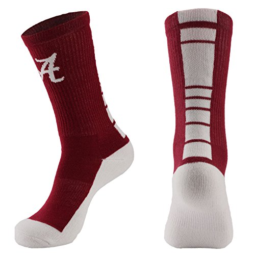 NCAA Alabama Crimson Tide Men's Champ Performance Crew Socks, Crimson, (Alabama Crimson)