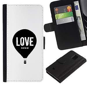 Samsung Galaxy S5 Mini / SM-G800 (Not For S5!!!) Modelo colorido cuero carpeta tirón caso cubierta piel Holster Funda protección - Love Balloon Hot Air White Black Minimalist