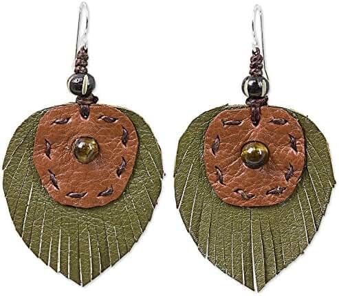 NOVICA Tiger's Eye .925 Sterling Silver Leather Bone Dangle Earrings 'Aurora Leaves'