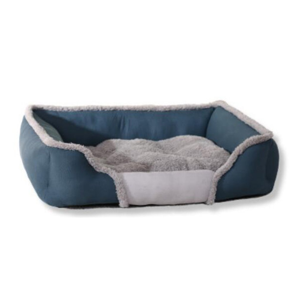 bluee SmallPet nest Teddy Creative Square Cat Litter, Warm Winter Dog Bed, Breathable Kennel,BrownL
