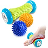 Pasnity Foot Massage Roller Spiky Ball Foot Pain Relief Massager Relieve Plantar Fasciitis and Heel Foot Arch Pain and Relax Shoulder Foot Back Leg Hand, Included 1 Roller & 2 Spiky Balls (Light Blue)