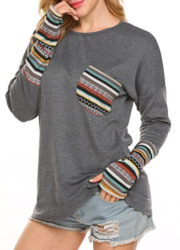 POGTMM Women LongShort Sleeve Tops ONeck Patchwork Casual Loose TShirts Blouse Tunic Tops with Thumb