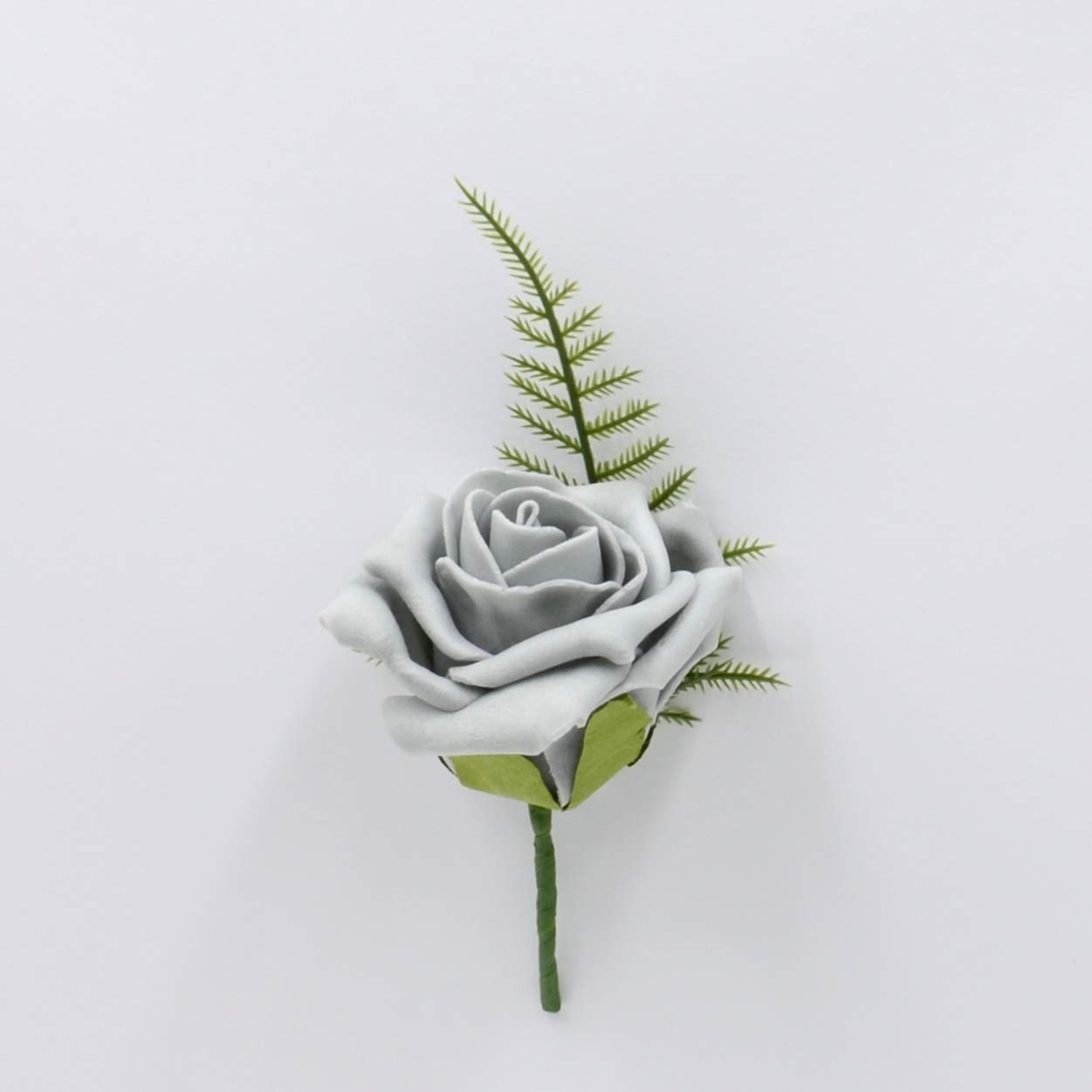 Artificial Wedding Flowers Hand-Made by Petals Polly, Foam Rose Buttonhole in Grey PETALS POLLY FLOWERS