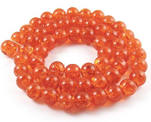 - Round Glass Crackle Beads-ORANGE 8mm (50)
