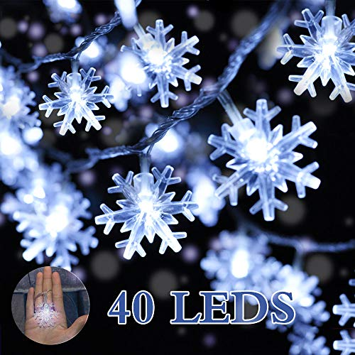 DIKI Snowflake Lights, Christmas Snowflake String Lights Battery Operated 16.4FT 40 LED White Lights for Bedroom Party Wedding Interior Garden Festival Decoration Indoor&Outdoor Snowflake Lights