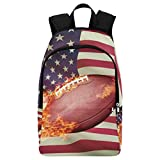 InterestPrint Flaming American Football with Flag Casual Backpack College School Bag Travel Daypack