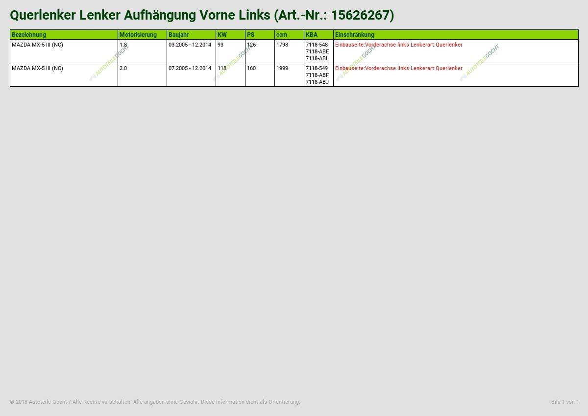QUERLENKER LENKER AUFH/ÄNGUNG VORNE LINKS VON AUTOTEILE GOCHT